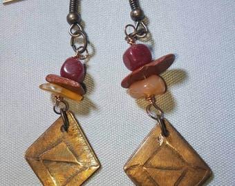 Milled, Diamond-Shaped Copper Earrings