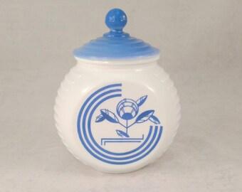 Anchor Hocking Vitrock Grease Jar, Repaired Lid