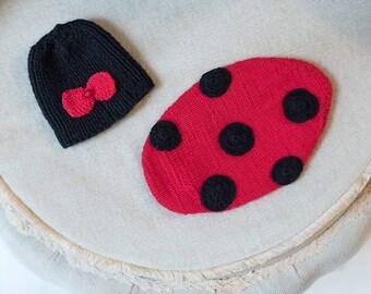 Newborn Ladybug Hat and Cape Set. Photography Prop. baby Girl. Baby boy. newborn Photography Prop