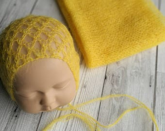 Newborn Bonnet and Wrap Set.  Newborn Set.  Newborn Hat.  Newborn Wrap