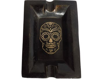 Skull Ashtray Day of the Dead - Engraved Brass