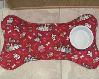 Dog Bone Pet Placemat, Funny Dog Print Reversible Pet Food Mat, Dog Food Mat, Pet Mat, Dog Bone Mat
