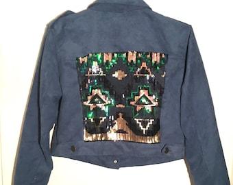 Suede Blue sequined jacket