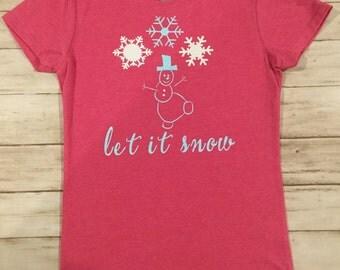 Snowman Girl's Shirt Glitter snowflake shirt Glitter snowman shirt Do you want to build a snowman girl's holiday shirt Girl's Christmas