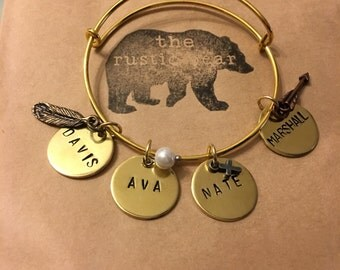Custom Hand Stamped Charm Bracelet