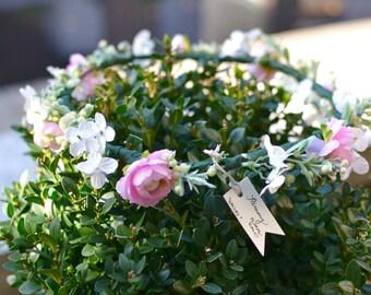 """The """"Pammy"""" floral halo crown // garden wedding, pink wedding, flower crown, bridal crown, bridesmaid crown, flower girl crown, baby shower"""
