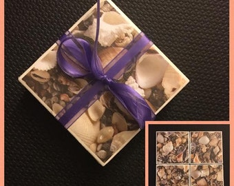 4 piece seashell coaster set