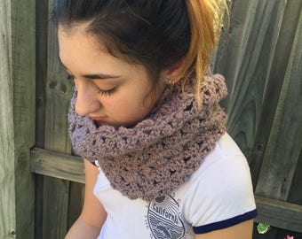 Hooded Blossom Infinity Crochet Scarf