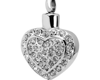 Silver Heart and Rhinestone Cremation Urn Pendant