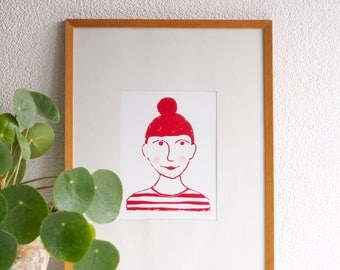 Molly - lino print girl