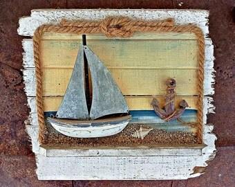 Home Nature Decor Rustic Wood Beach House Wall Hanging Art Ocean Sea Sand Items