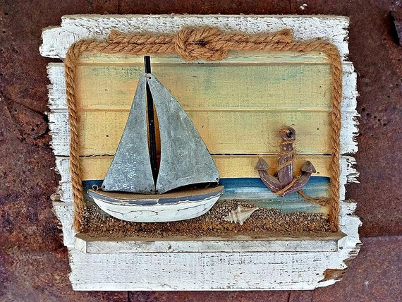 Home Nature Decor Rustic Wood Beach House Wall Hanging Art Ocean Sea Sand Items