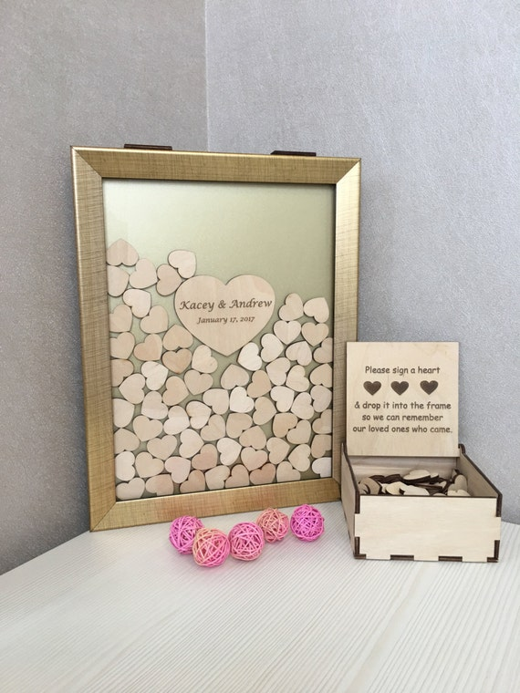 Wedding guest book,guest book,alternative drop box,shadow frame,drop top box,guest book hearts,memory heart box,drop top guest book,drop box