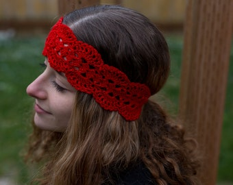 Glittering Red Stretch Headband with Snap Clasp at Back