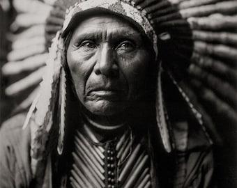 Native American Photo, Three Horses Portrait, Photograph of American Indian Wearing Headdress, Black White Photography, Sepia Photo
