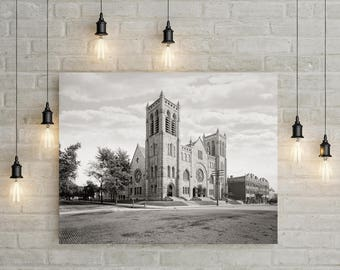 Old Minneapolis Photo, Westminster Presbyterian Church, Minneapolis Minnesota 1905, Minneapolis Art, Wall Art Decor, Black White Photography