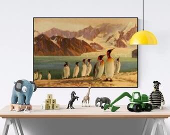 Penguins Poster, Vintage Penguin Prints, Penguin Art Print, Antique Penguin Art, Nursery Animal Print, Seaside Decor, Coastal Decor