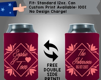 Names Last Name Date Collapsible Fabric Wedding Cooler Double Side Print (W190)