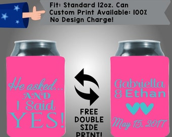 He Asked and I Said Yes Names Date Collapsible Fabric Wedding Cooler Double Side Print (W169)