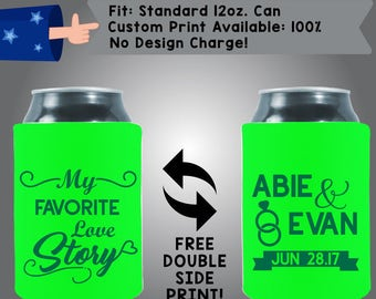 My Favorite Love Story Names Date Collapsible Fabric Wedding Can Cooler Double Side Print (W156)