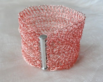 Wide Wire Bracelet crocheted Wire Bracelet crochet crochet bracelet wire jewelry