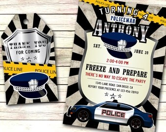 Police invitation, Police Birthday invitation, Police invite, Police officer invite, Police officer invitation, Police printables Police Tag