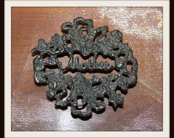 Miniature Cast Iron Mother Trivet, Vintage Cast Iron Trivet, Miniature Mother Trivet, Mother's Day Gift, Decorative Mother Gift