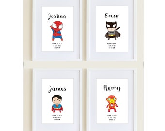 Personalised Superhero print- Nursery print, bedroom print, playroom print