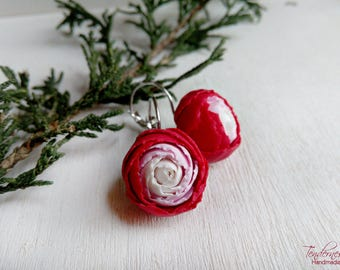 Floral earrings with red peonies, delicate handmade jewellery, gift for her, feminine earrings