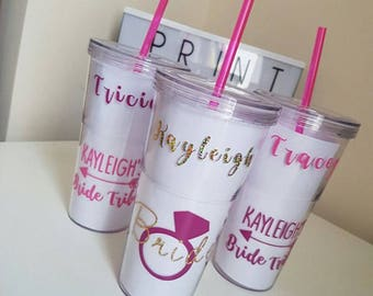 Personalised Hen Party bride tribe Bachelorette Tumblers Vinyl Acrylic Wedding Engagement Stag