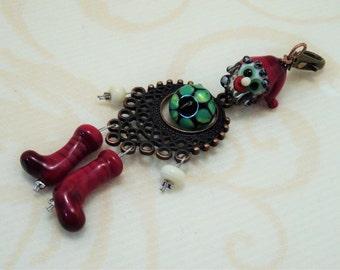 DWARF PENDANT with lampwork beads !handmade!