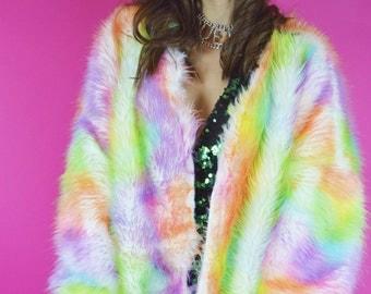 Luxury Rainbow Faux Fur Jacket