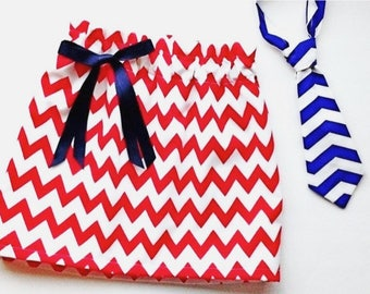 Brother Sister clothing Set,  Red and white chevron, Chevron tie, chevron skirt, brother sister sibling set, red and blue chevron set