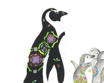 Penguins 'Manor Petersdorf' - Fine Print. Original. Custom Art