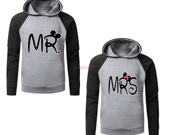 Mr Mickey Mrs Minnie Couple Raglan Hoodies pärchen pullover Mickey Minnie Mouse Sweatshirts Couple Hoodies