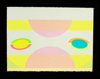 "Silkscreen Screenprint on Paper ""Faced #4 (Series)"" by Michelle Miller, Edition of 5 20x30 inch"