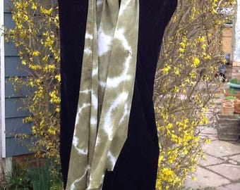 Olive green, Shibore dyed musln scarf.