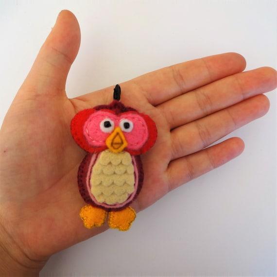Raspberry Red Owl Charm