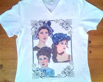Vintage t-shirt, victorian t-shirt, vintage clothing,  white vintage tshirt, art vintage shirt, art t- shirt, v neck vintage shirt, v neck