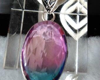 NEW Large Bi Color Tourmaline Pendant Pink/blue statement item Sterling silver