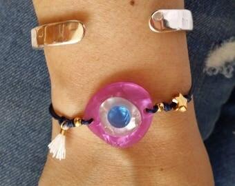 Evil eye bracelet, Protection bracelet, Greek evil eye, lucky charm bracelet, adjustable bracelet