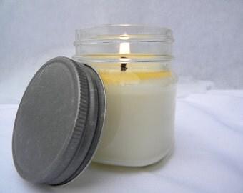 FREE SHIPPING -Eucalyptus-Pure- Handmade 8 oz Mason Jar Soy Candle