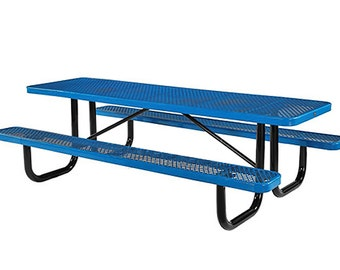 "96"" Metal Rectangular Outdoor Picnic Table Attached With Seats"