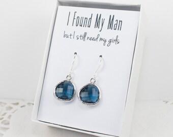 Navy Blue Silver Earrings, Silver Navy Earrings, Blue Silver Earrings, Bridesmaid Gift, Bridesmaid Earrings, Blue Wedding Jewelry