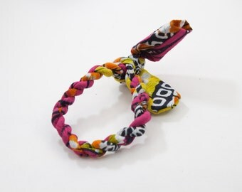 Multi-Colored Woven Bracelet with Pink