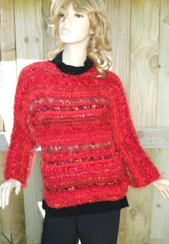 Mixed Reds Tunisian Crochet Sweater