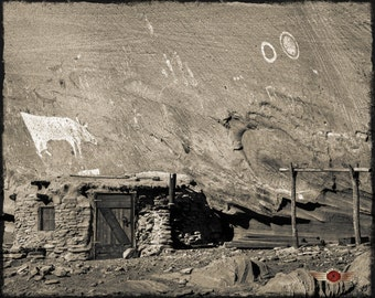 Cow Hogan - Canyon De Chelly, Northern Arizona, Navajo Country, Wall Art, Native American, Fine Art Photography, pictographs
