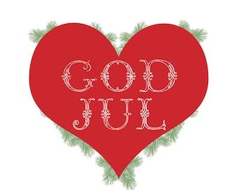 God Jul 16x20 Norwegian Christmas Print
