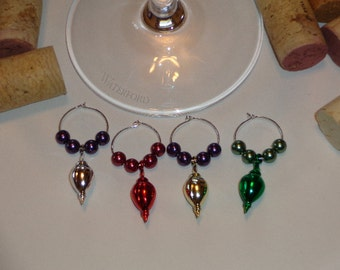 Christmas Ornament Wine Charms