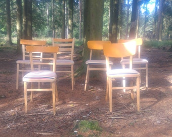 Set of six dinner room chairs, dinning, chairs, chair, dinning room, orange, qirkiture, 'same but different'